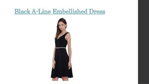 c47eb36ad862 Black A-Line Embellished Dress ...