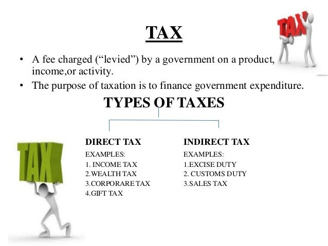 tax types of tax Direct taxes taxes which are collected directly from income and wealth are  known as direct taxes types of direct taxes income taxincome tax is collected  on all.