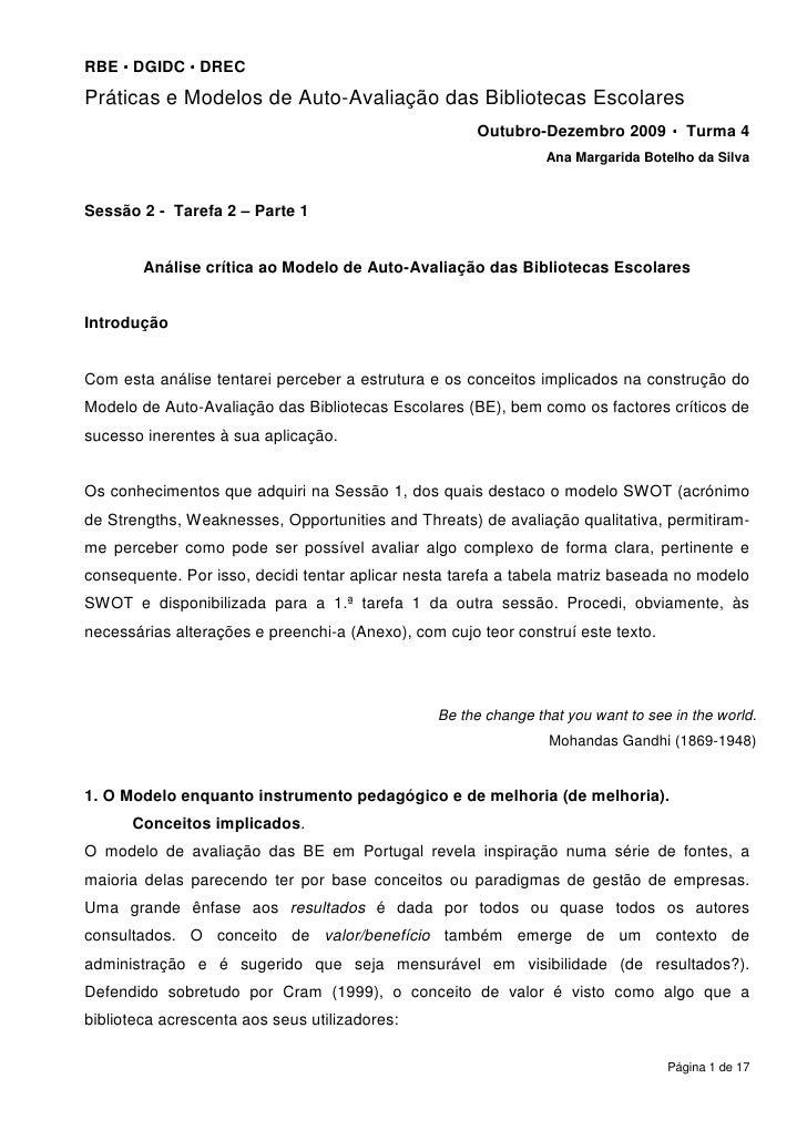 RBE DGIDC DREC Práticas e Modelos de Auto-Avaliação das Bibliotecas Escolares                                             ...