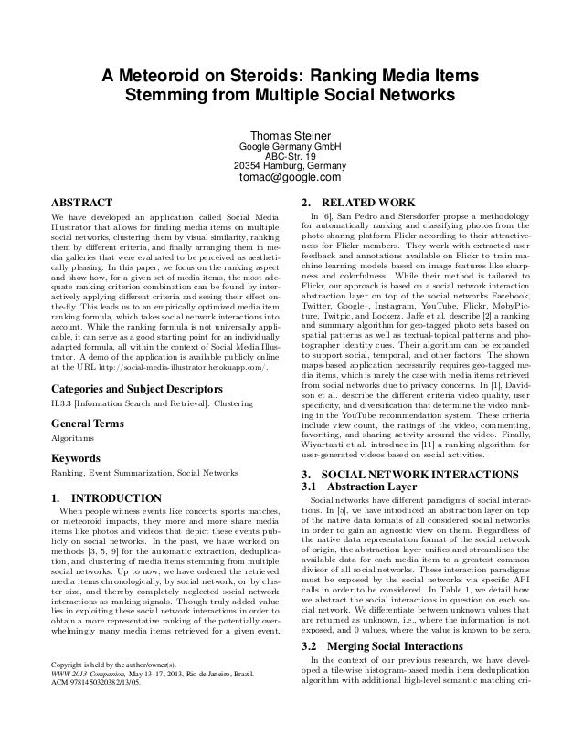 A Meteoroid on Steroids: Ranking Media Items                Stemming from Multiple Social Networks                        ...