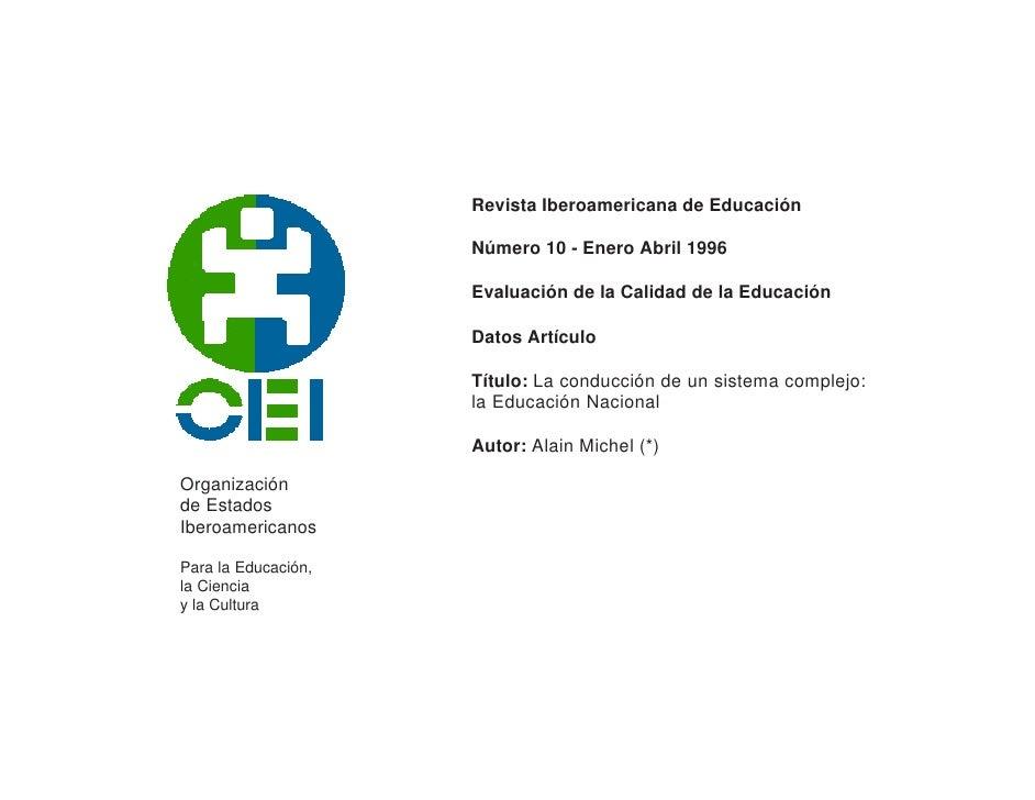 Revista Iberoamericana de Educación                     Número 10 - Enero Abril 1996                     Evaluación de la ...