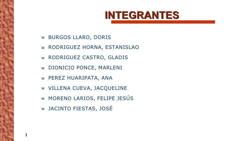 INTEGRANTES <ul><li>BURGOS LLARO, DORIS </li></ul><ul><li>RODRIGUEZ HORNA, ESTANISLAO </li></ul><ul><li>RODRIGUEZ CASTRO, ...