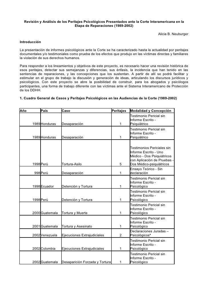 Revisión y Análisis de los Peritajes Psicológicos Presentados ante la Corte Interamericana en la                          ...