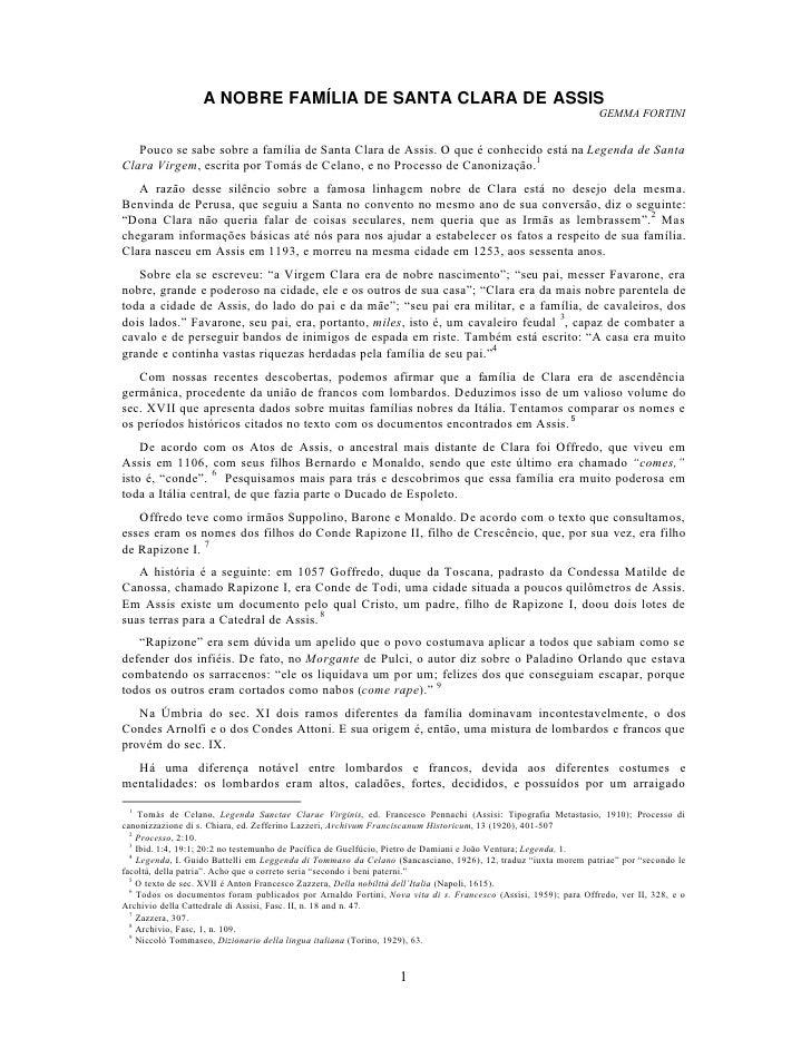 A NOBRE FAMÍLIA DE SANTA CLARA DE ASSIS                                                                                   ...