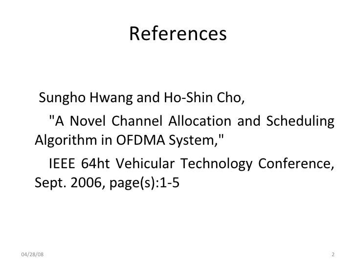 A Novel Channel Allocation And Scheduling Algorithm In Slide 2