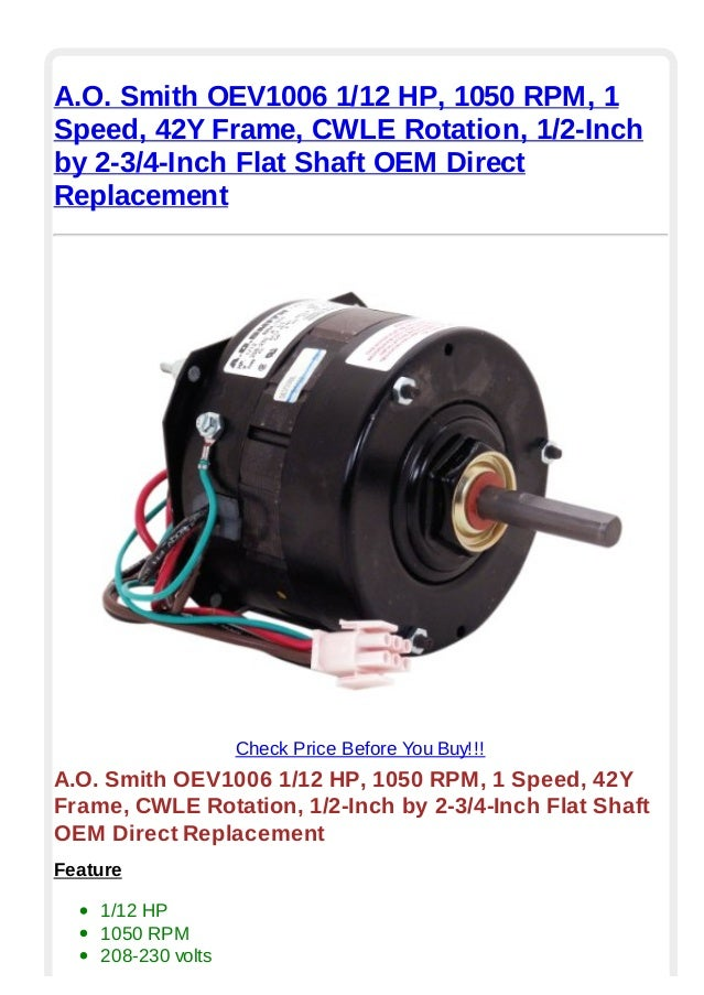 A.o. smith oev1006 1 12 hp 1050 rpm 1 speed 42 y frame cwle rotation …