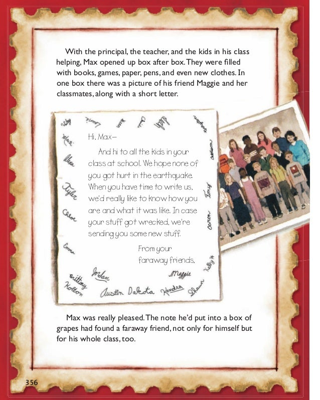 write a letter to your pen friends about your school day