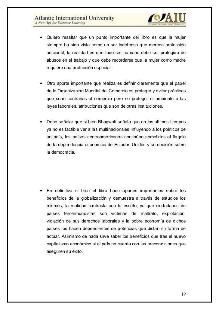 bhagwati defense globalization essay The 2005 angelo costa lecture (rome) in defense of globalization: it has a human face by jagdish bhagwati jagdish bhagwati, a university professor at columbia.