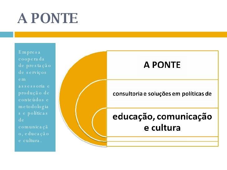 A PONTE <ul><li>Empresa cooperada de prestação de serviços em assessoria e produção de conteúdos e metodologias e política...