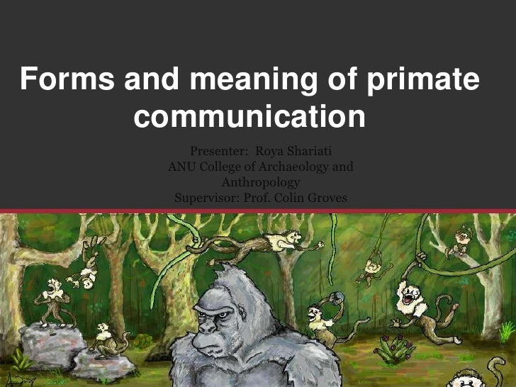 Forms and meaning of primate communication<br />Presenter:  RoyaShariati<br />ANU College of Archaeology and Anthropology<...
