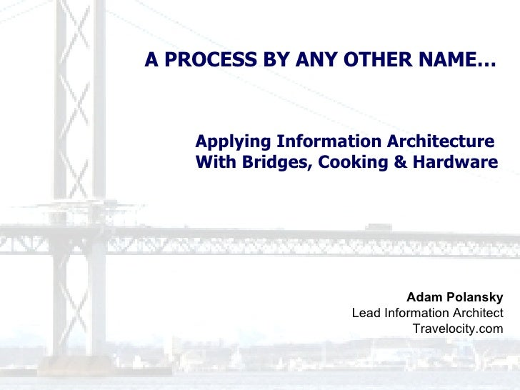 Adam Polansky Lead Information Architect Travelocity.com A PROCESS BY ANY OTHER NAME… Applying Information Architecture  W...