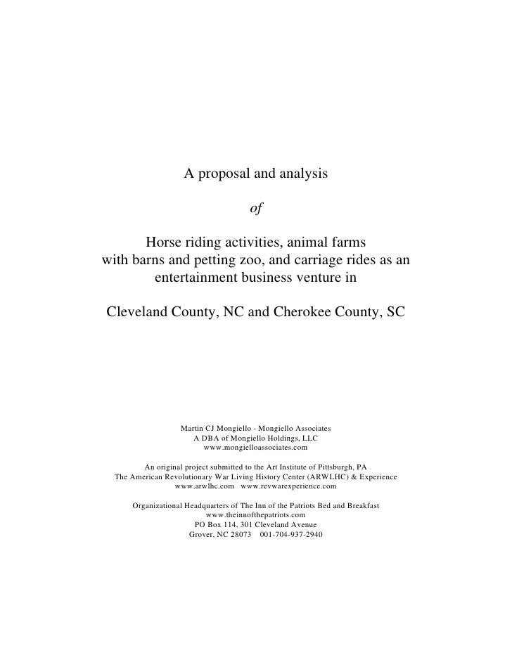 A proposal and analysis                                          of         Horse riding activities, animal farms with bar...