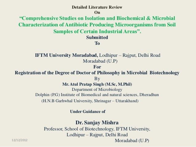 """Detailed Literature Review                                             On    """"Comprehensive Studies on Isolation and Bioch..."""