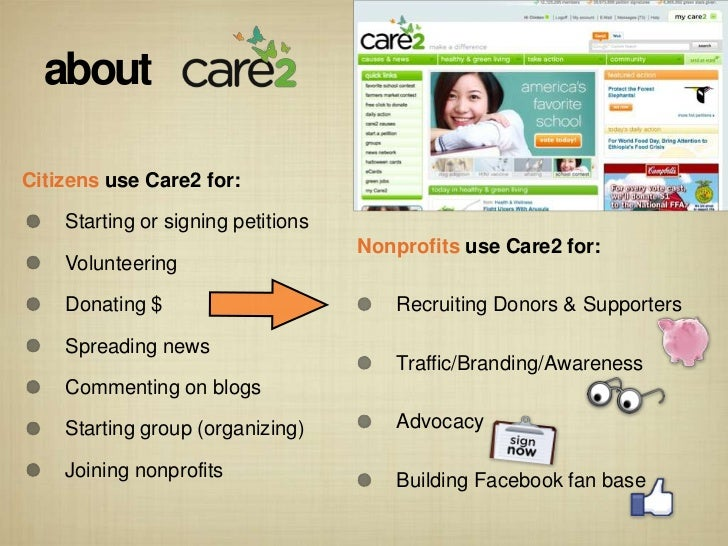 aboutCitizens use Care2 for:    Starting or signing petitions                                    Nonprofits use Care2 for:...