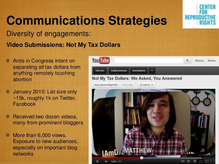 Communications StrategiesDiversity of engagements:Video Submissions: Not My Tax Dollars  Antis in Congress intent on  sepa...