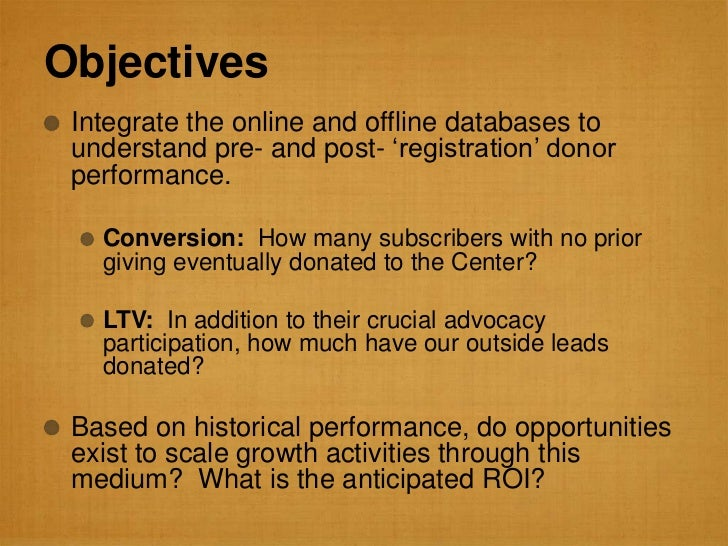 """Objectives Integrate the online and offline databases to understand pre- and post- """"registration"""" donor performance.   Con..."""