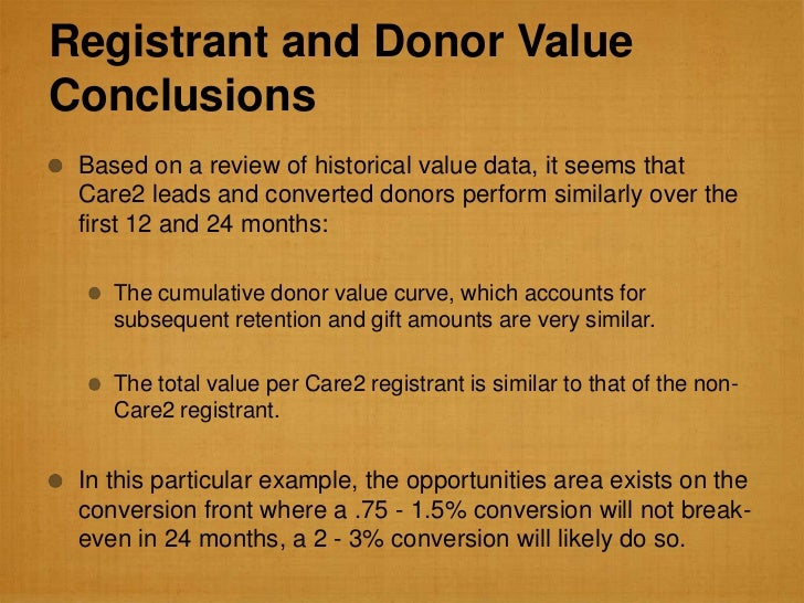 Registrant and Donor ValueConclusions Based on a review of historical value data, it seems that Care2 leads and converted ...