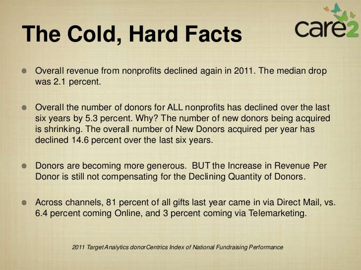 The Cold, Hard Facts Overall revenue from nonprofits declined again in 2011. The median drop was 2.1 percent. Overall the ...