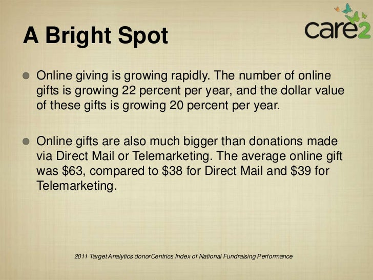 A Bright Spot Online giving is growing rapidly. The number of online gifts is growing 22 percent per year, and the dollar ...