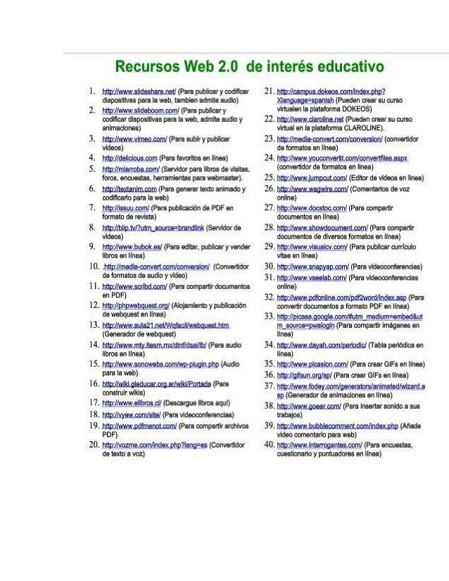 A.  recursos web de interes educativo
