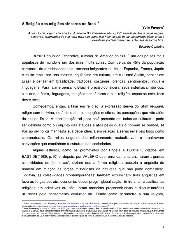 A Religião e as religiões africanas no Brasil1                                                                            ...