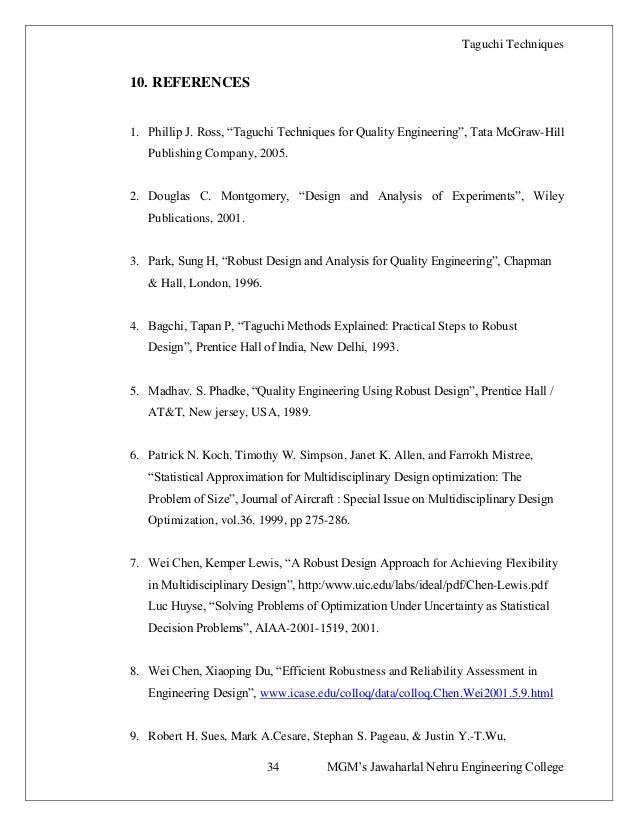 A Report On Taguchi Methods Techniques Kaustubh Babrekar
