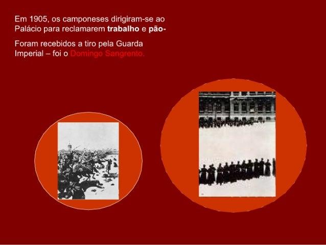 Em 1905, os camponeses dirigiram-se ao Palácio para reclamarem trabalho e pão- Foram recebidos a tiro pela Guarda Imperial...