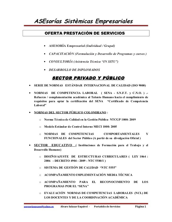 ASEsorías Sistèmicas Empresariales               OFERTA PRESTACIÓN DE SERVICIOS               •   ASESORÍA Empresarial (In...