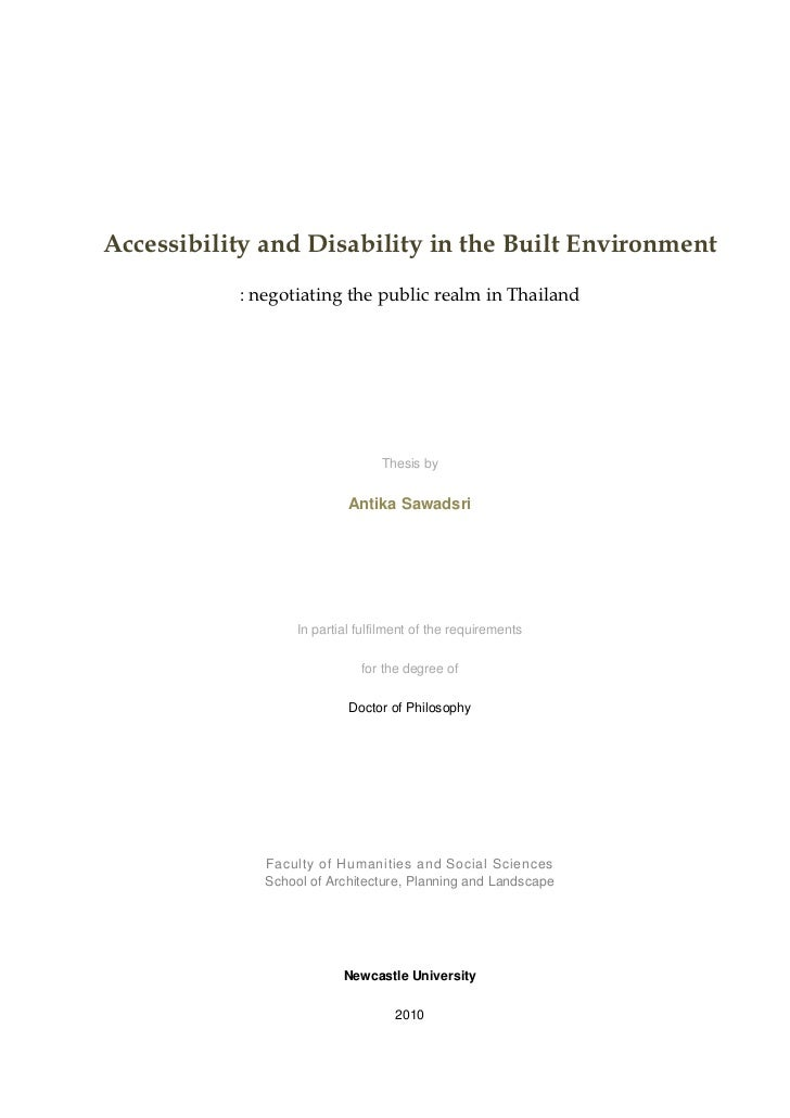 Accessibility and Disability in the Built Environment           : negotiating the public realm in Thailand                ...
