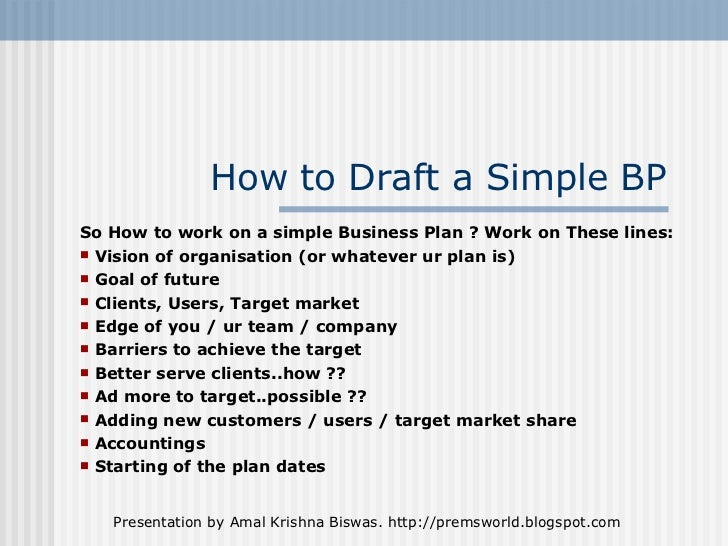 Example Simple Business Plan Idealstalist