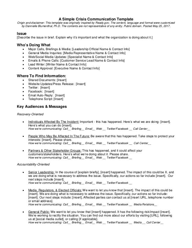 A Simple Crisis Communication Template Origin and disclaimer: This template was originally inspired by Ready.gov. The cont...