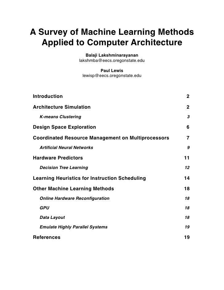 machine learning survey
