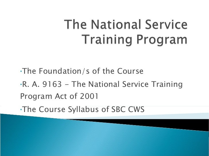 national service training program 1 exam There is a three-tiered service requirement to qualify for incentives under the national call to service program: first, after completion of initial entry training, individuals must serve on active duty in a military occupational specialty designated by the secretary of defense for a period of 15 months.