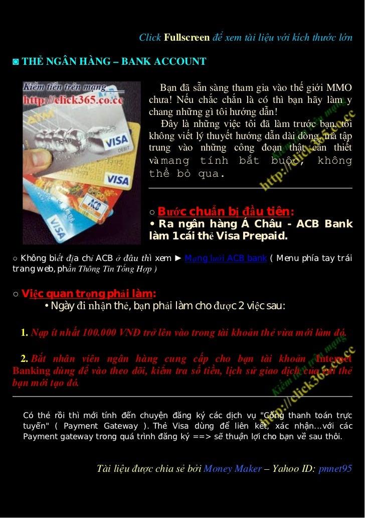 Click Fullscreen để xem tài liệu với kích thước lớn◙ THẺ NGÂN HÀNG – BANK ACCOUNT                                    Bạn đ...