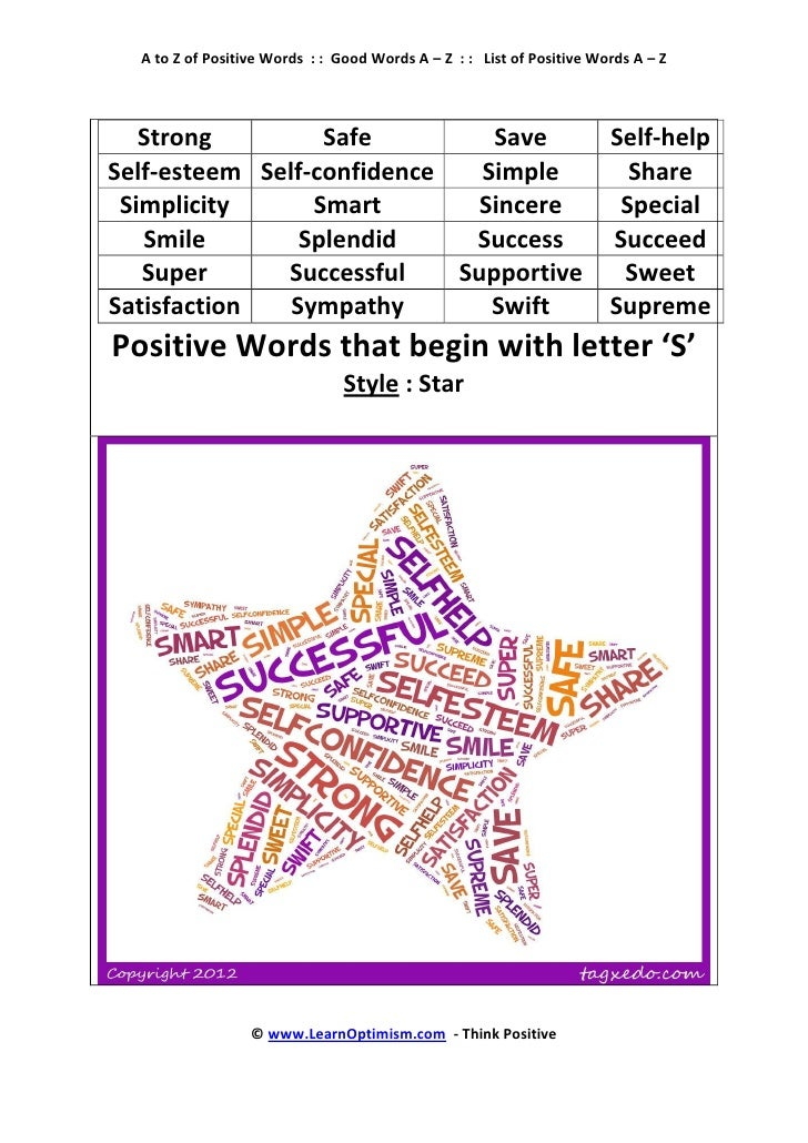 Positive Words That Start With The Letter S Heartpulsar