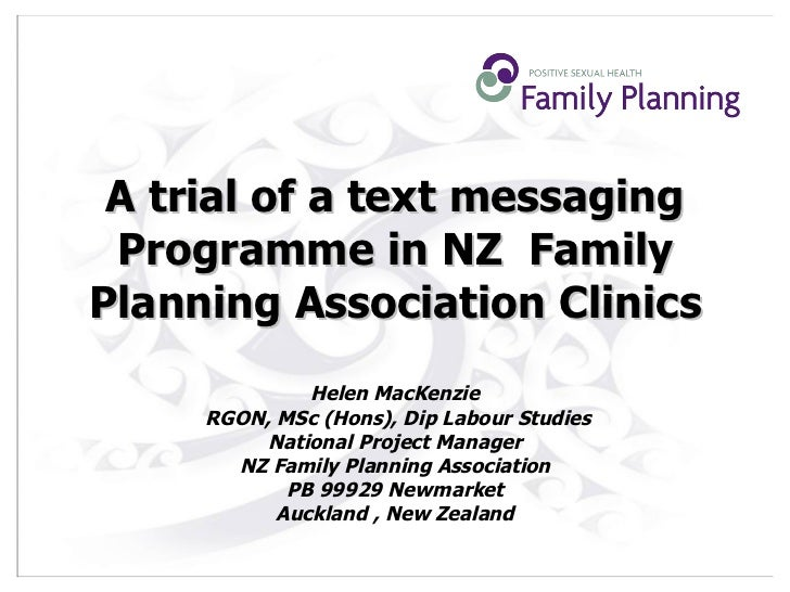 A trial of a text messaging Programme in NZ Family