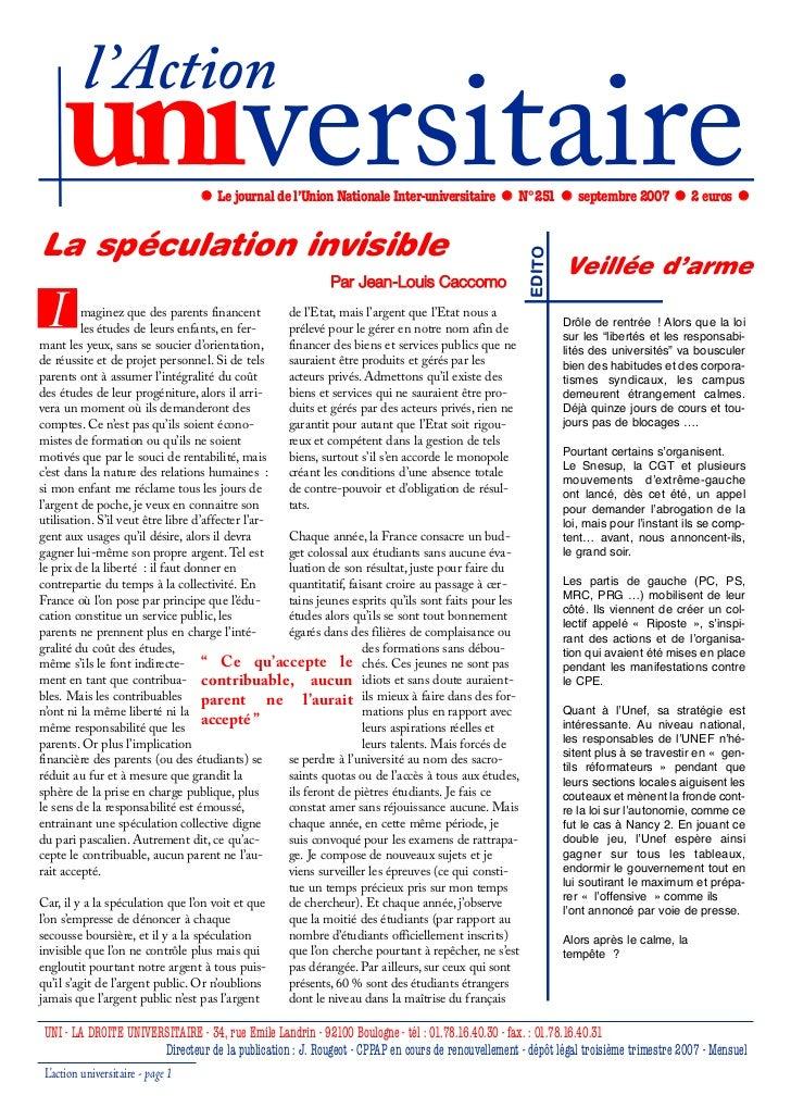 l'Action     universitaire                   Le journal de l'Union Nationale Inter-universitaire           N°251          ...