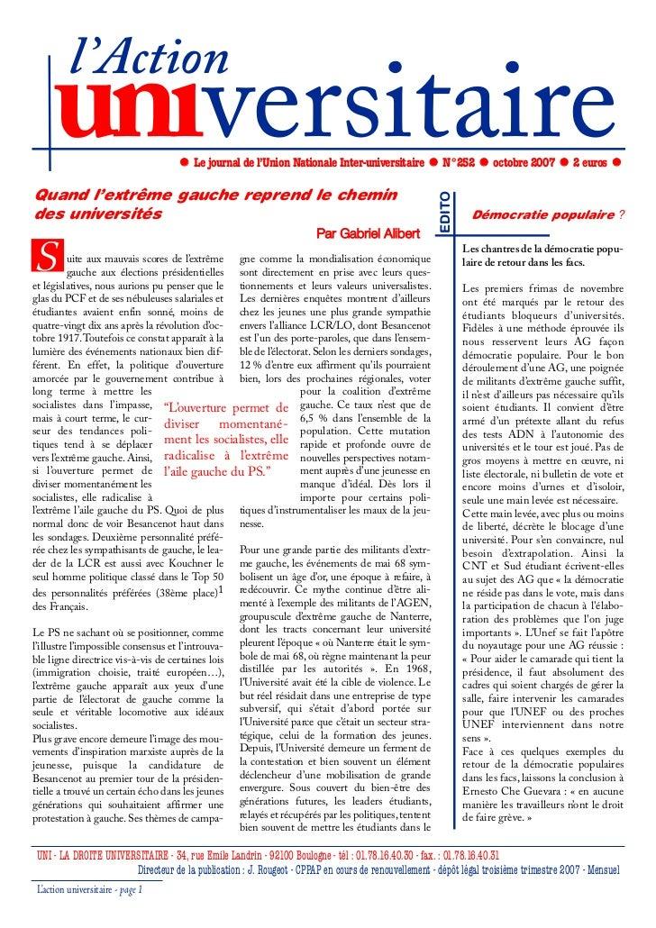 l'Action     universitaire                      Le journal de l'Union Nationale Inter-universitaire            N°252      ...