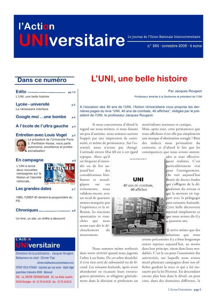 l'Action   UNIversitaire                                                                                      Le journal d...