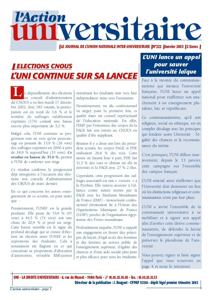 l'Actionuniversitaire                     ❚ LE JOURNAL DE L'UNION NATIONALE INTER-UNIVERSITAIRE ❚ N°222 ❚ Janvier 2003 ❚ 2...