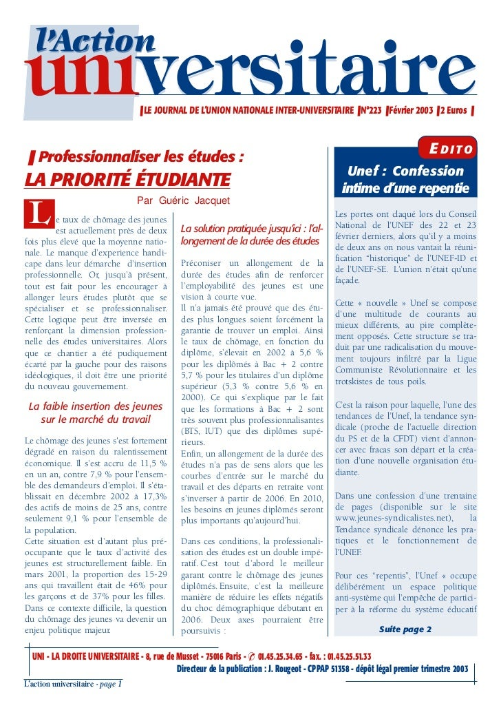 l'Actionuniversitaire                     ❚ LE JOURNAL DE L'UNION NATIONALE INTER-UNIVERSITAIRE ❚ N°223 ❚ Février 2003 ❚ 2...