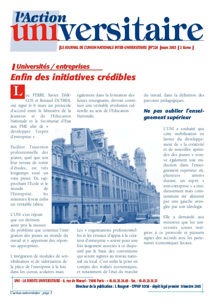 l'Actionuniversitaire                     ❚ LE JOURNAL DE L'UNION NATIONALE INTER-UNIVERSITAIRE ❚ N°224 ❚ mars 2003 ❚ 2 Eu...
