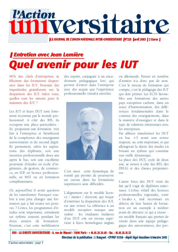 l'Actionuniversitaire                     ❚ LE JOURNAL DE L'UNION NATIONALE INTER-UNIVERSITAIRE ❚ N°225 ❚ avril 2003 ❚ 2 E...