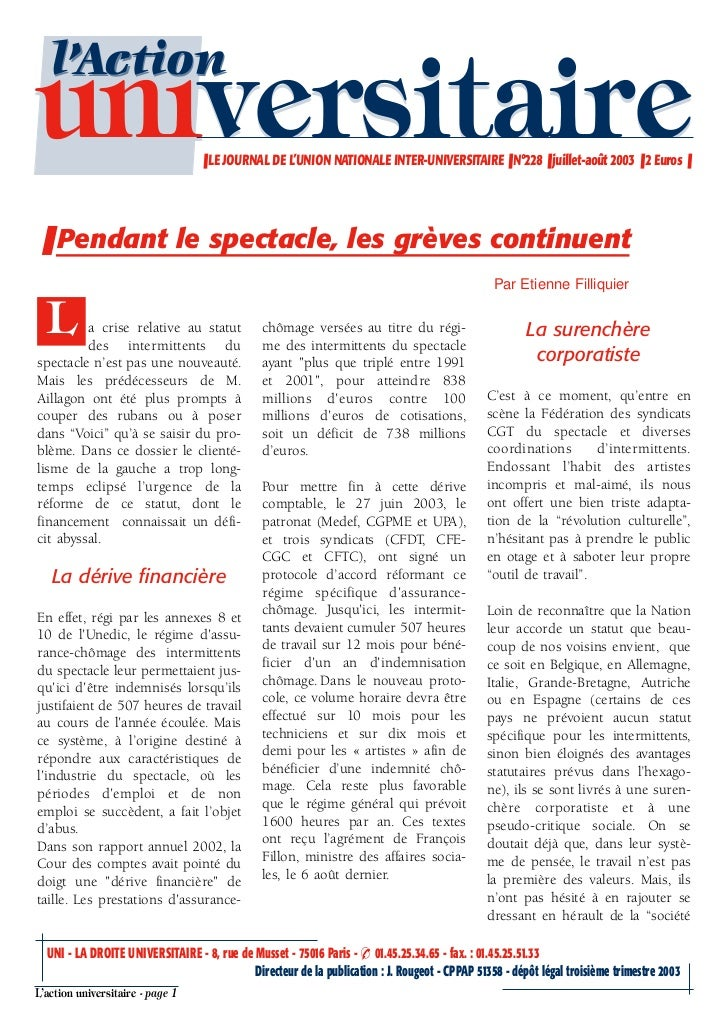l'Actionuniversitaire                     ❚ LE JOURNAL DE L'UNION NATIONALE INTER-UNIVERSITAIRE ❚ N°228 ❚ juillet-août 200...