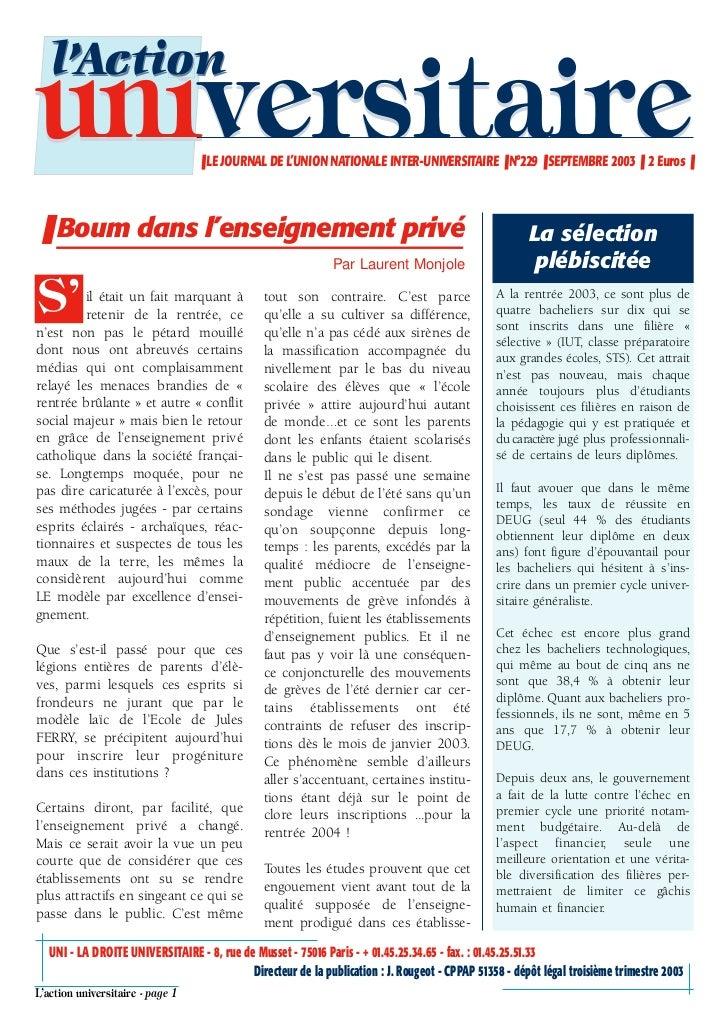 l'Actionuniversitaire                     ❚ LE JOURNAL DE L'UNION NATIONALE INTER-UNIVERSITAIRE ❚ N°229 ❚ SEPTEMBRE 2003 ❚...
