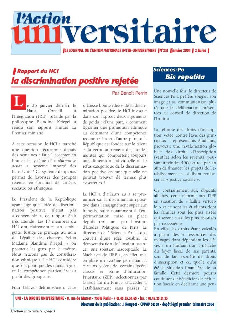 l'Actionuniversitaire                      ❚ LE JOURNAL DE L'UNION NATIONALE INTER-UNIVERSITAIRE ❚ N°233 ❚ janvier 2004 ❚ ...