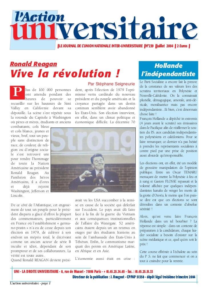 l'Actionuniversitaire                     ❚ LE JOURNAL DE L'UNION NATIONALE INTER-UNIVERSITAIRE ❚ N°239 ❚ juillet 2004 ❚ 2...