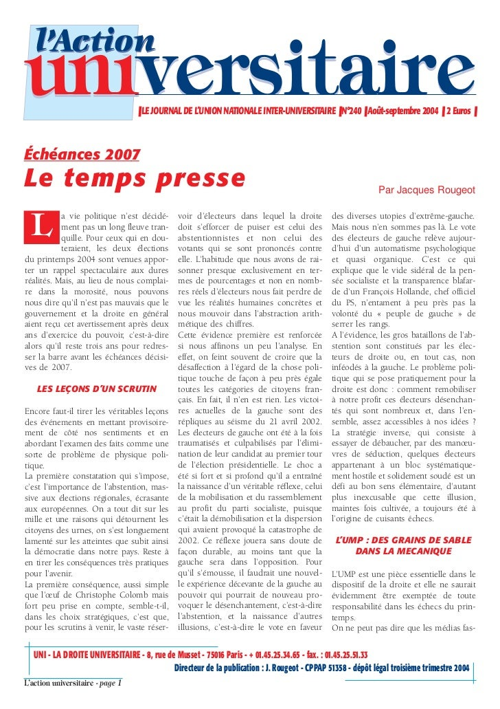 l'Actionuniversitaire                     ❚ LE JOURNAL DE L'UNION NATIONALE INTER-UNIVERSITAIRE ❚ N°240 ❚ Août-septembre 2...