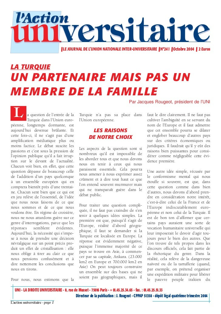 l'Actionuniversitaire                     ❚ LE JOURNAL DE L'UNION NATIONALE INTER-UNIVERSITAIRE ❚ N°241 ❚ Octobre 2004 ❚ 2...