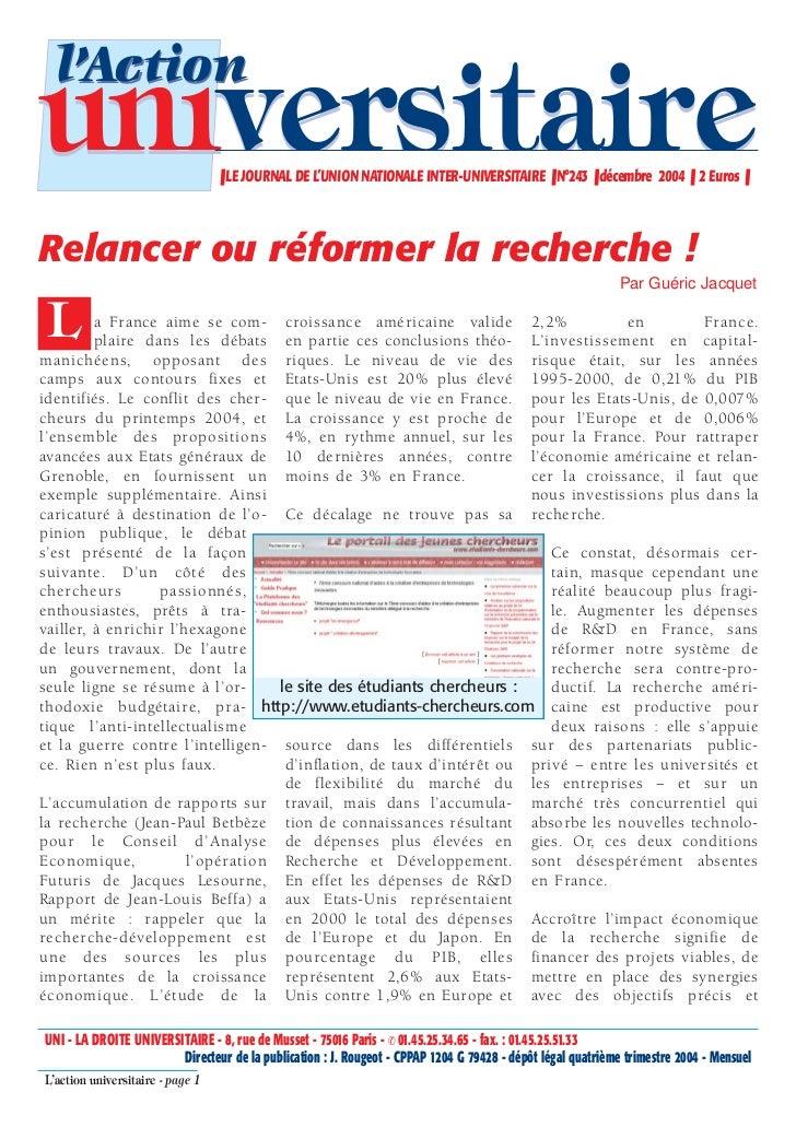 l'Actionuniversitaire                     ❚ LE JOURNAL DE L'UNION NATIONALE INTER-UNIVERSITAIRE ❚ N°243 ❚ décembre 2004 ❚ ...